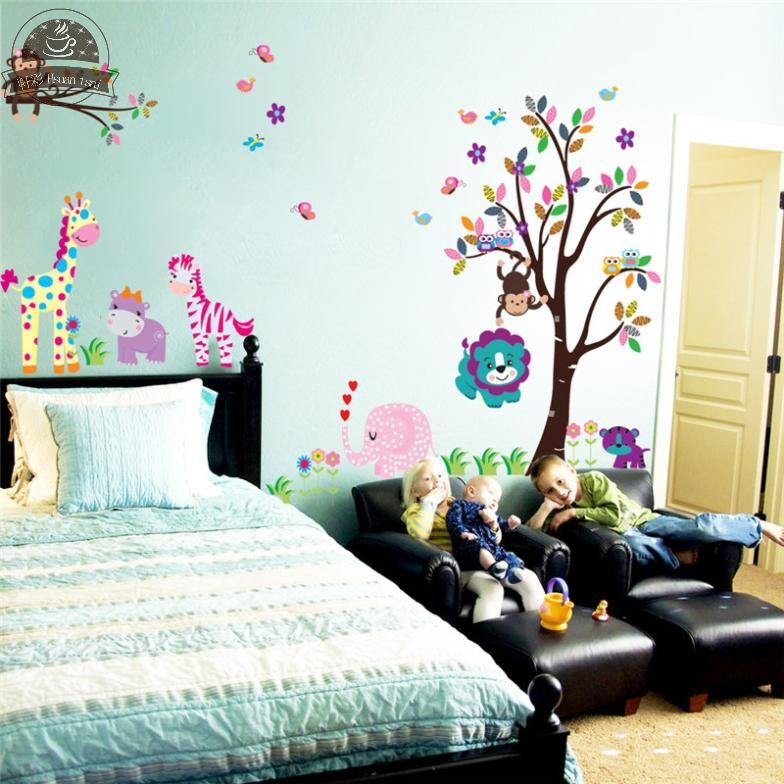 King size tree animal cartoon owl monkey giraffe elephant wall stickers for  kids rooms boys girls. Online Buy Wholesale owl wallpaper from China owl wallpaper