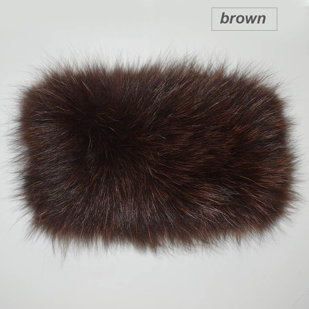 fox fur headband color brown