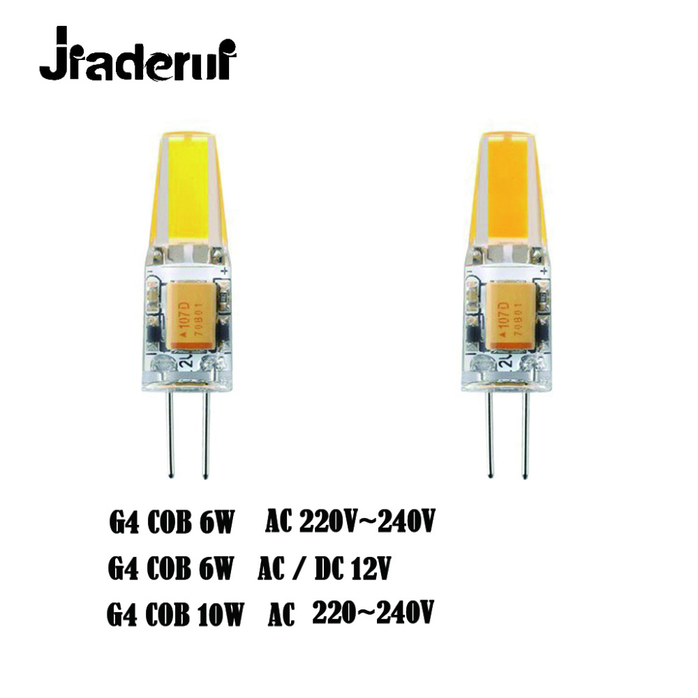 Jiaderui G4 LED Bulb COB 12V AC DC 6W AC 220V 6W 10W LED G4 Lamp Crystal LED Light Bulb Lampara Bombilla Ampoule LED G4 Bulb