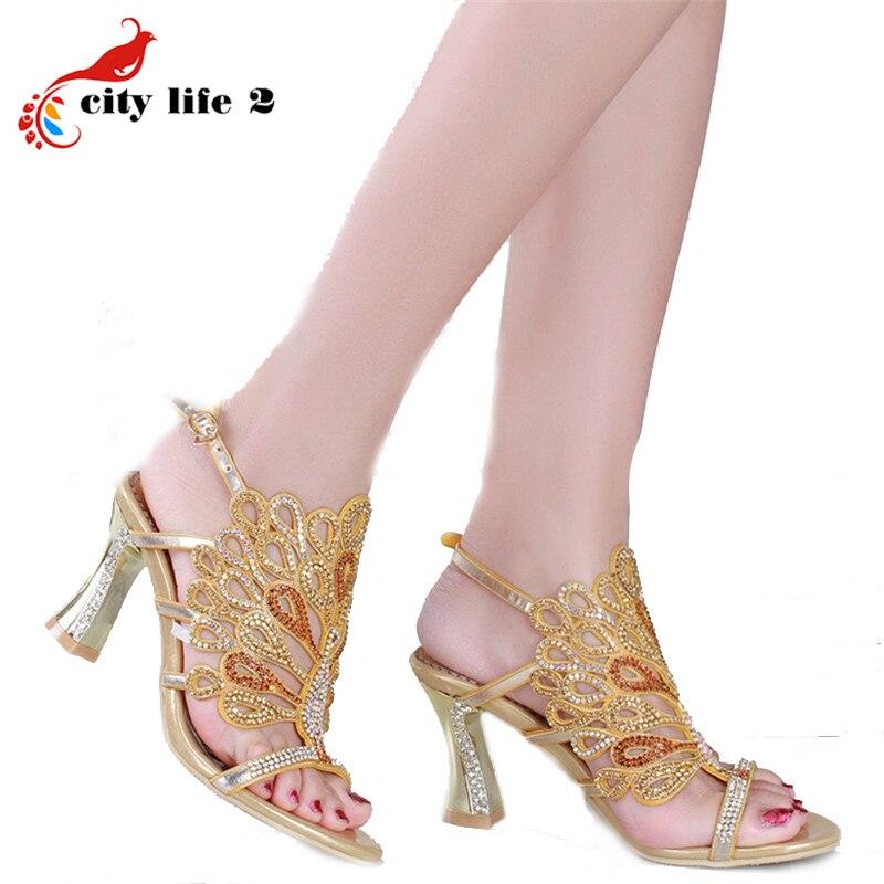 Sheepskin High Heeled Shoes Summer 2016 Diamond Leather Sandals font b Women b font Pumps Rhinestone