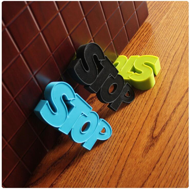 1pc New Cute Cartoon Letters Stop Style Door Stopper Silicone Doorstop Safety For Baby Home Decoration Edge Corner Guards