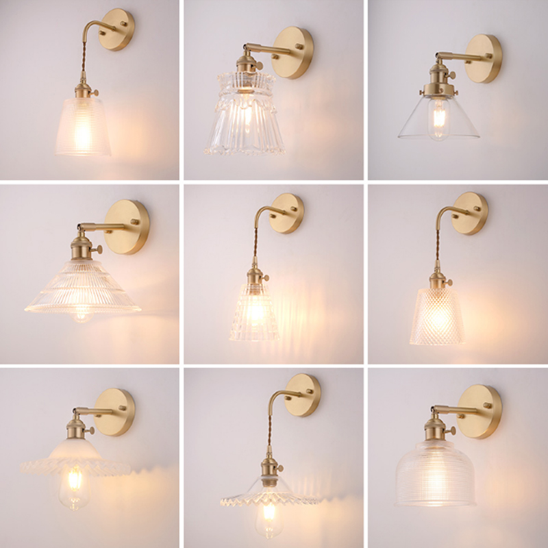 Retro simple brass transparent glass wall lamp modern creative porch decoration LED E27 lighting multi-style selection 110V~240V new 8 for samsung galaxy tab a p350 lcd display with touch screen digitizer sensors full assembly panel lcd combo replacement