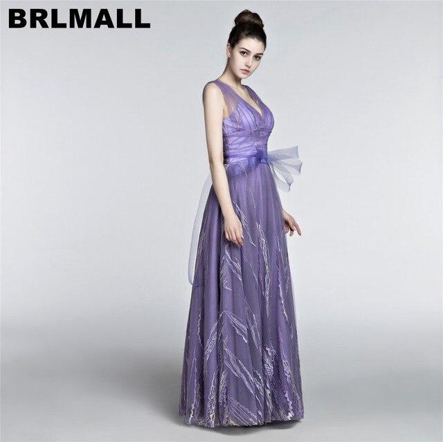 BRLMALL 2017 Violet Evening Dresses Lace Applique Backless Prom ...