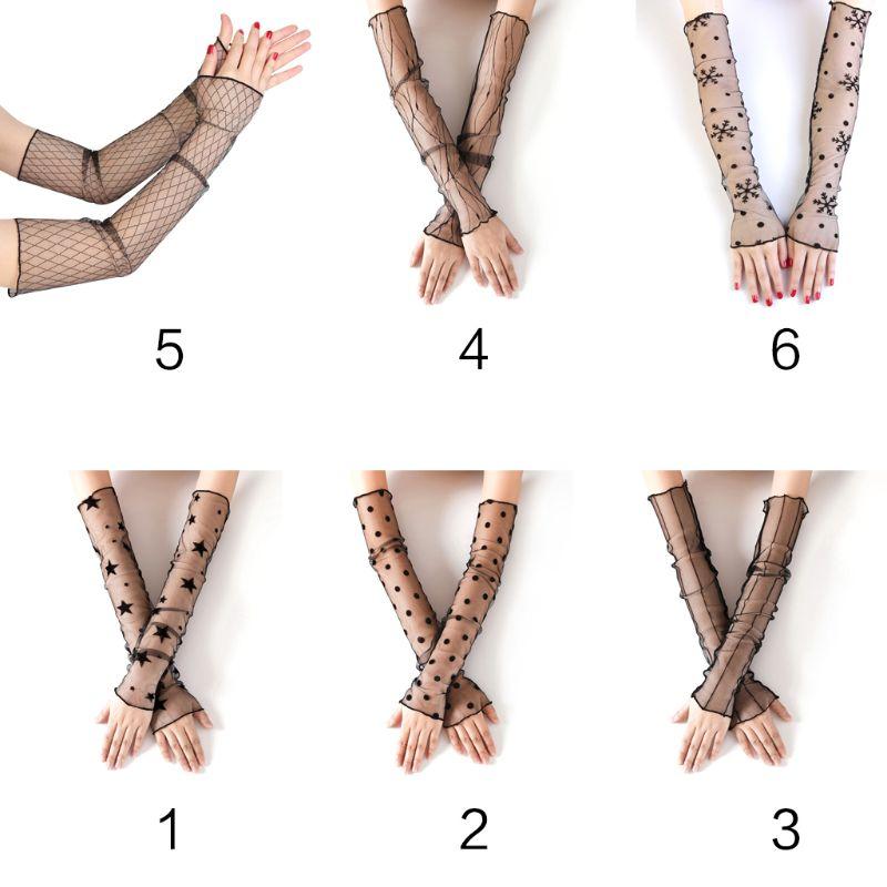 Women Summer UV Protection Long Gloves Sheer Mesh Lace Fingerless Sunscreen Ultra-Thin Elbow Length Arm Sleeves