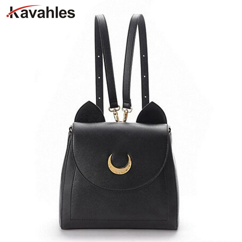 2018 Sailor Moon Bag Women Handbags Famous Brands  Black White Cat PU Leather Women Shoulder Bags   f40-701