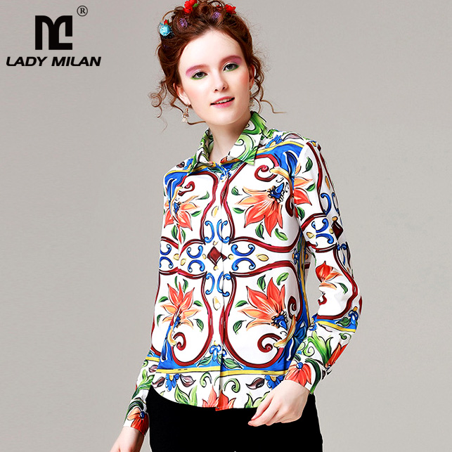 New Arrival 2018 Womens Turn Down Collar Long Sleeves Vintage Floral Printed High Street Fashion Runway Shirts