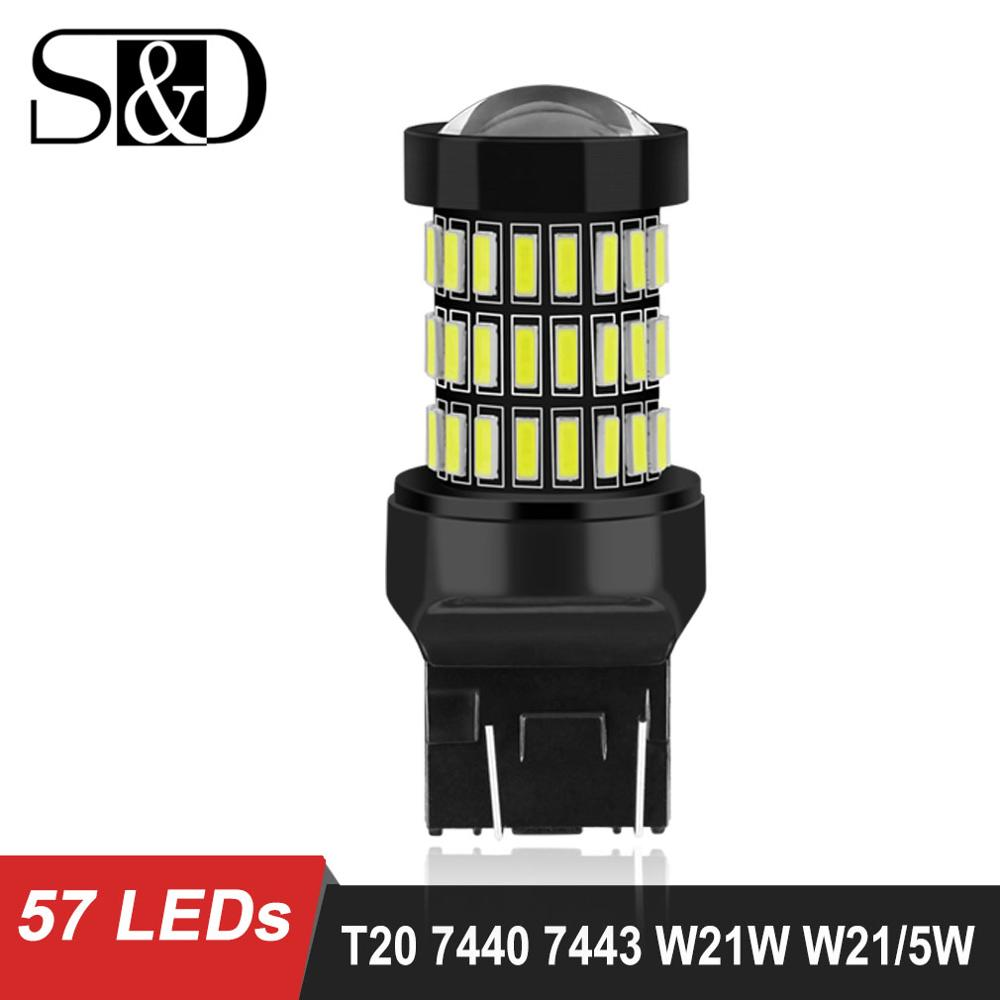 S&D Newest T20 7440 W21W WY21W LED 7443 SRCK W21/5W LED Bulbs 12V Car Lights Turn Signal Brake Reverse Tail Lamp Auto 1200LM