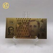 1pc 2 dólares de oro billete de dinero Singapur dinero para un buen viaje regalo de recuerdo envío gratis