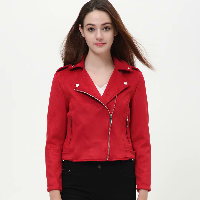 Klacwaya 2019 Autumn Women Faux   Suede     Leather   Biker Jackets Long Sleeve Zipper   Suede   Coat Streetwear Autumn Outfit Red Brown