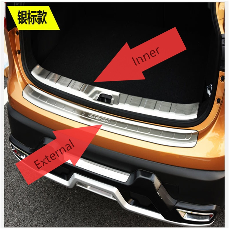 Stainless steel rear bumper inside door sill plate scuff for Rear exterior door