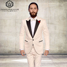 LN112 men suits ivory custom made suit groom tuxedo for wedding formal wear 2017 high quality mens dress