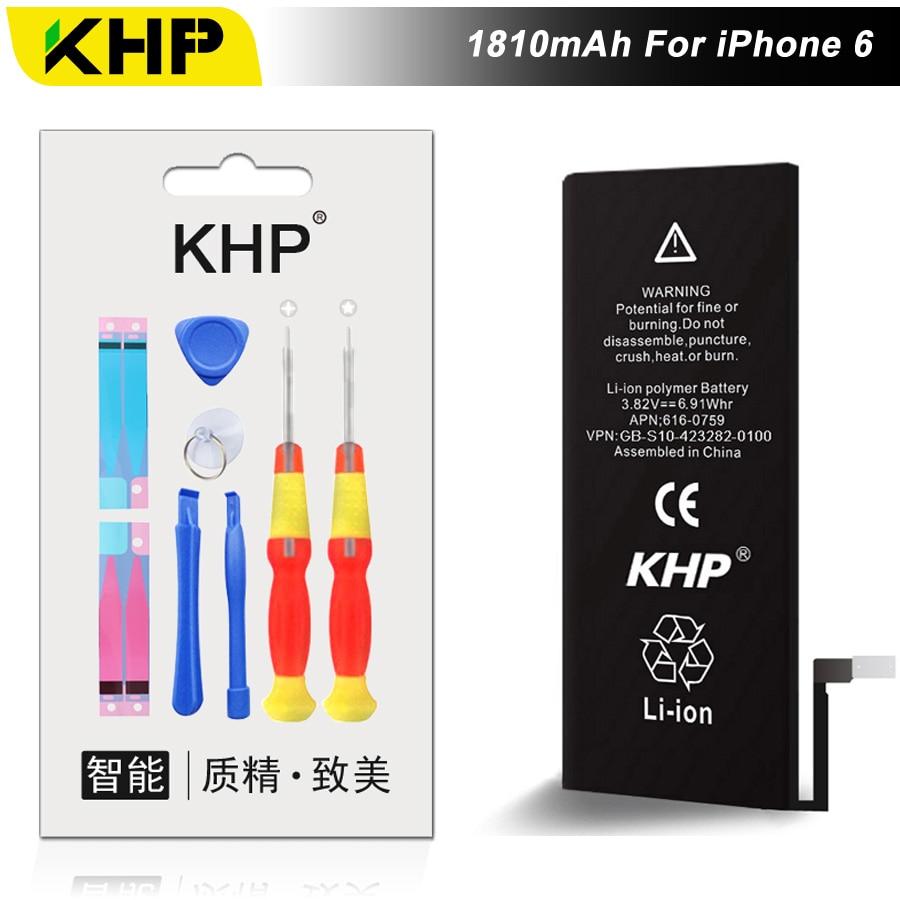 NEW 2017 100% Original KHP Capacidade 1810 mAh Da Bateria Do Telefone Para o iphone 6 Ferramentas de Reparo 0 Ciclo de Substituição de Baterias Móveis adesivo