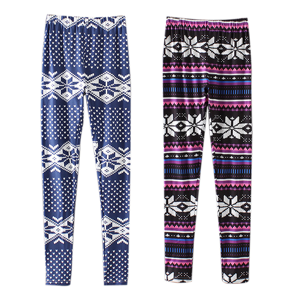 Women Leggings Leaves Geometry Print Reindeer Fully Lined Leggings Brushed Milk Silk Women Autumn Winter Casual Fitness Leggings