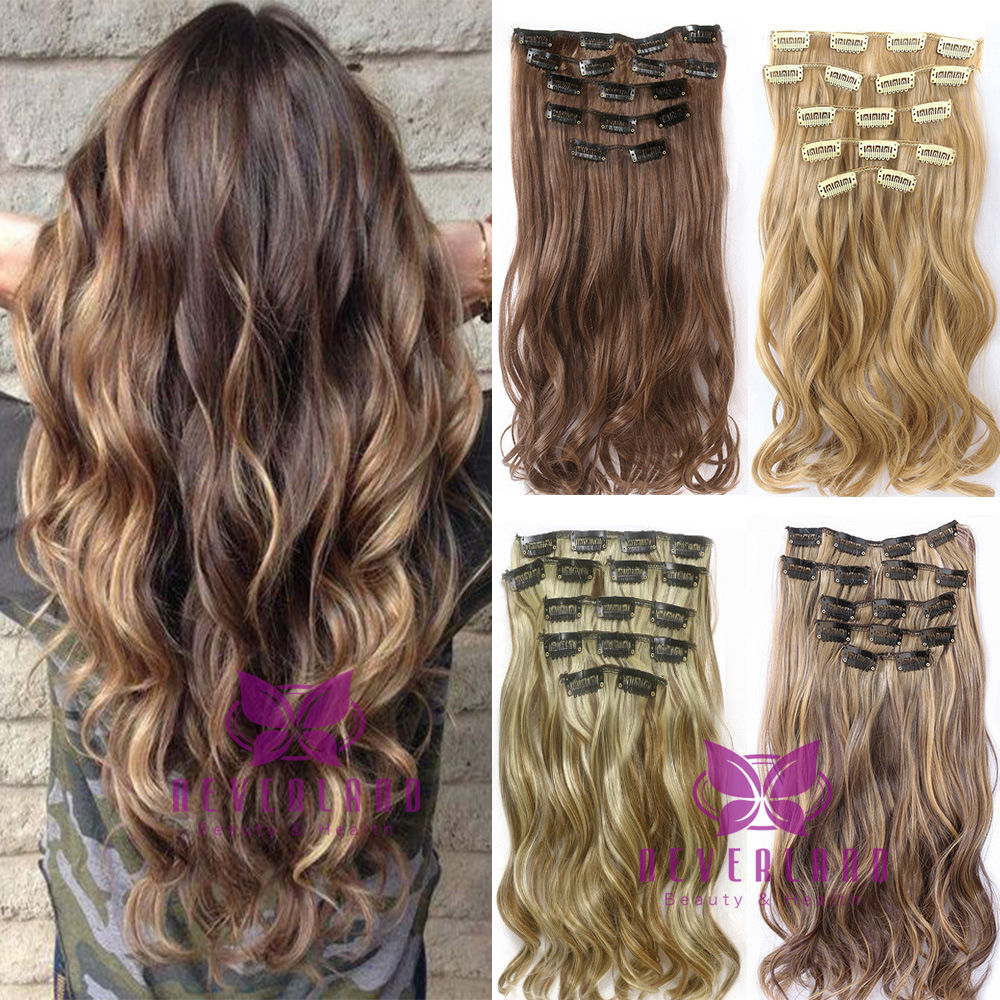 7pcsset Clip In Hair Extension 22inch Long Curly Wavy Fake Hair
