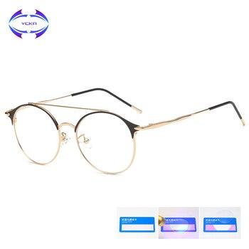 VCKA 2019 New Anti Blue Light Blocking Filter Glasses Fashion Women Mens Computer Goggles Retro Metal Gaming UV400 Eyewear