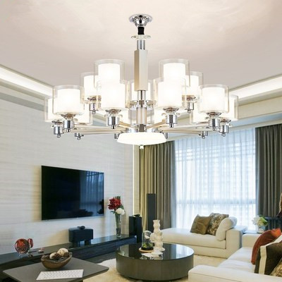 Modern LED Chrome color metal Crystal Chandeliers Lighting Pendant with double glass shades Fixture Lamp For living roomModern LED Chrome color metal Crystal Chandeliers Lighting Pendant with double glass shades Fixture Lamp For living room