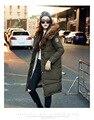 O envio gratuito de 2016 novas Mulheres Inverno Longo casaco fino com um chapéu de pele de guaxinim colarinho jaqueta de algodão Grosso quente grande jaqueta de algodão