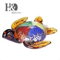 H&D Gift Glass Animal Mini Statuettes Handblown Home Decor Multicolor Modern Turtle Figurine Home Decoration Accessories