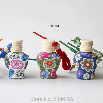 10ML 30pcs/lot Empty Polymer Clay Perfume Bottle, Car Pendant Creative Decoration, Small Glass Charming Personalized Gifts