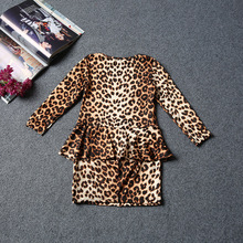 OLEKID 2017 Summer Leopard Long-sleeve Girl Dress Brand Fake 2pcs Children Girls Dress 2-6 Years Kids Clothing