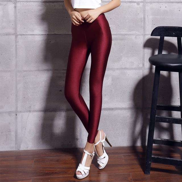 Women Solid Color Fluorescent Shiny Pant Leggings Spandex Shinny Elasticity Casual Trousers 4