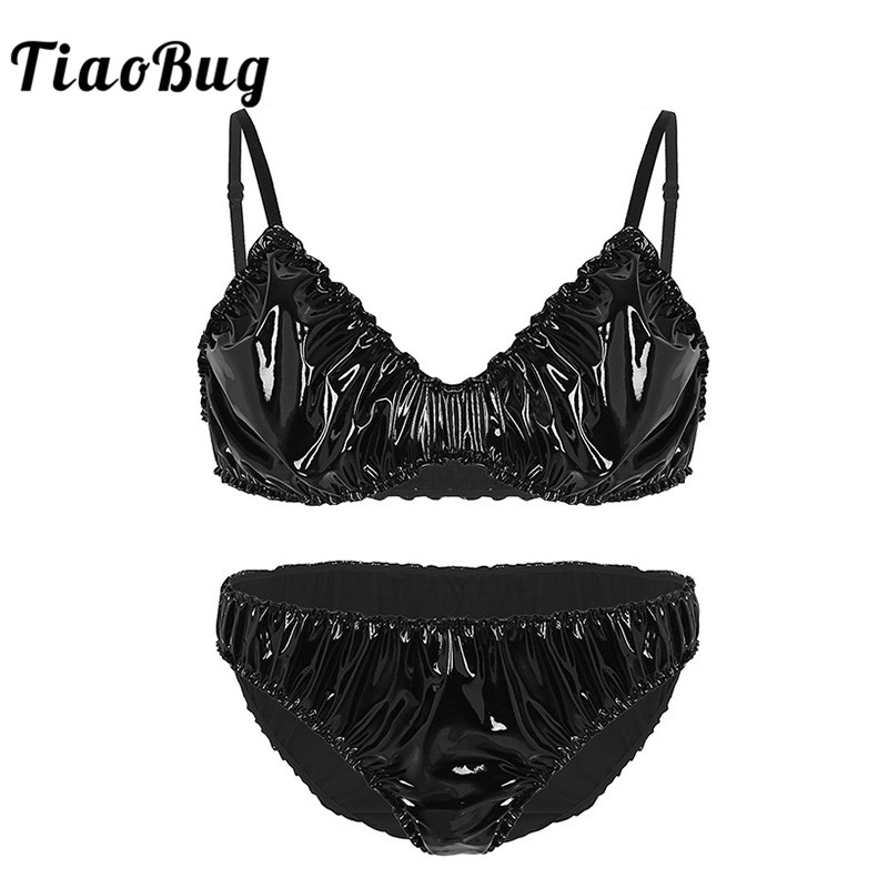 6b347a6d9b TiaoBug Men Wetlook Faux Leather Ruffle Crossdressing Sissy Lingerie Set  Spaghetti Straps Hot Sexy Men Bra