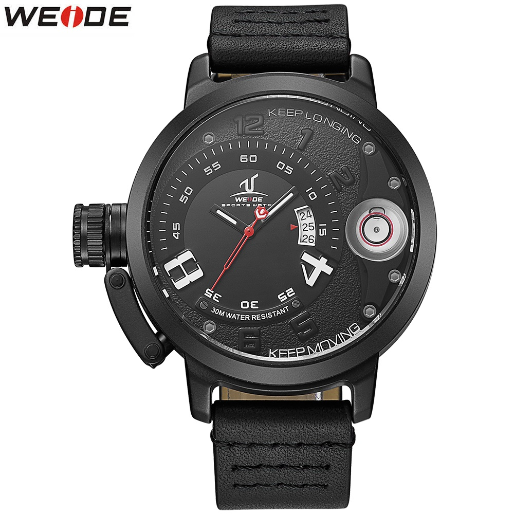 Top Luxury Brand WEIDE Men leather Watches Men's Quartz Clock Man Fashion Sport Army Military Wrist Watch Automatic date relogio skmei 6911 womens automatic watch women fashion leather clock top quality famous china brand waterproof luxury military vintage