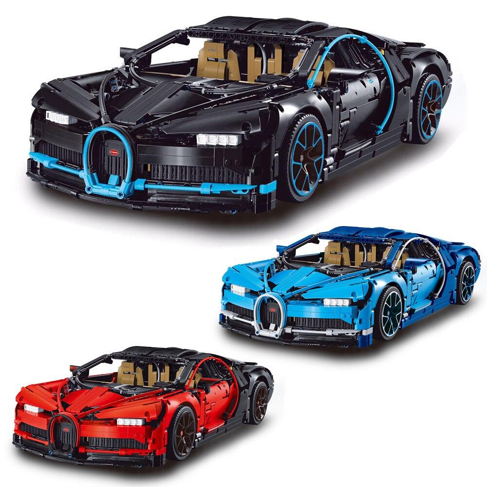 DECOOL Technic Red Blue Bugatti Chiron Building Blocks Kit Bricks set Classic Super sports car Model Kids Toys Compatible Legoe