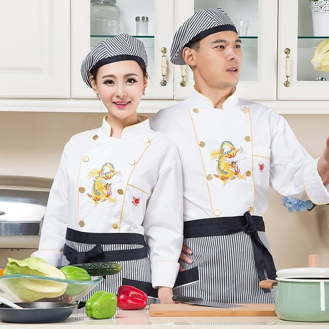 New Design Chef Jacket Chinese Style White Uniform Hotel Kitchen Cook Clothes Lady Bakers Wear