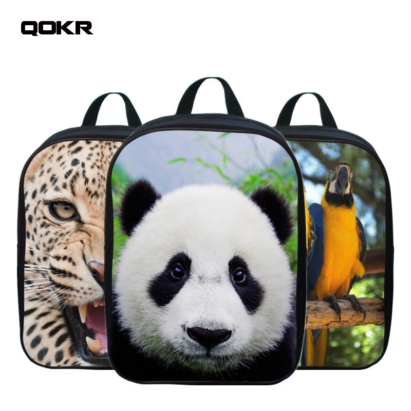 QOKR kids school bags panda printing cartoon picture 3D backpack 2-5 years old children kindergarten boys small book bags oxford ...