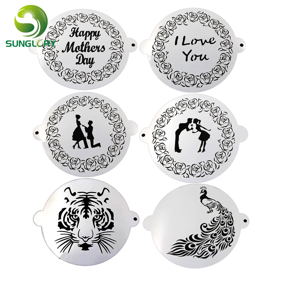 Happy Kitchen Decoration Cake: Wedding Decoration Fondant Cake Stencil Kitchen Cupcake Decorating Template Mold Baking Tools