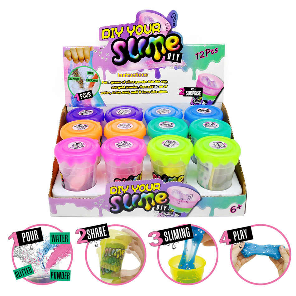 12pcs Clay/Slime Gifts Magic Slime Polymer Clay 80ml Addition for Glitter Slime Shake DIY Slime toys Kit With Box Just Add Water
