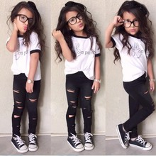New Arrival Europe style Luxury design girls clothing sets fashion letters white T-shirt + hole trousers 2PCS children clothing