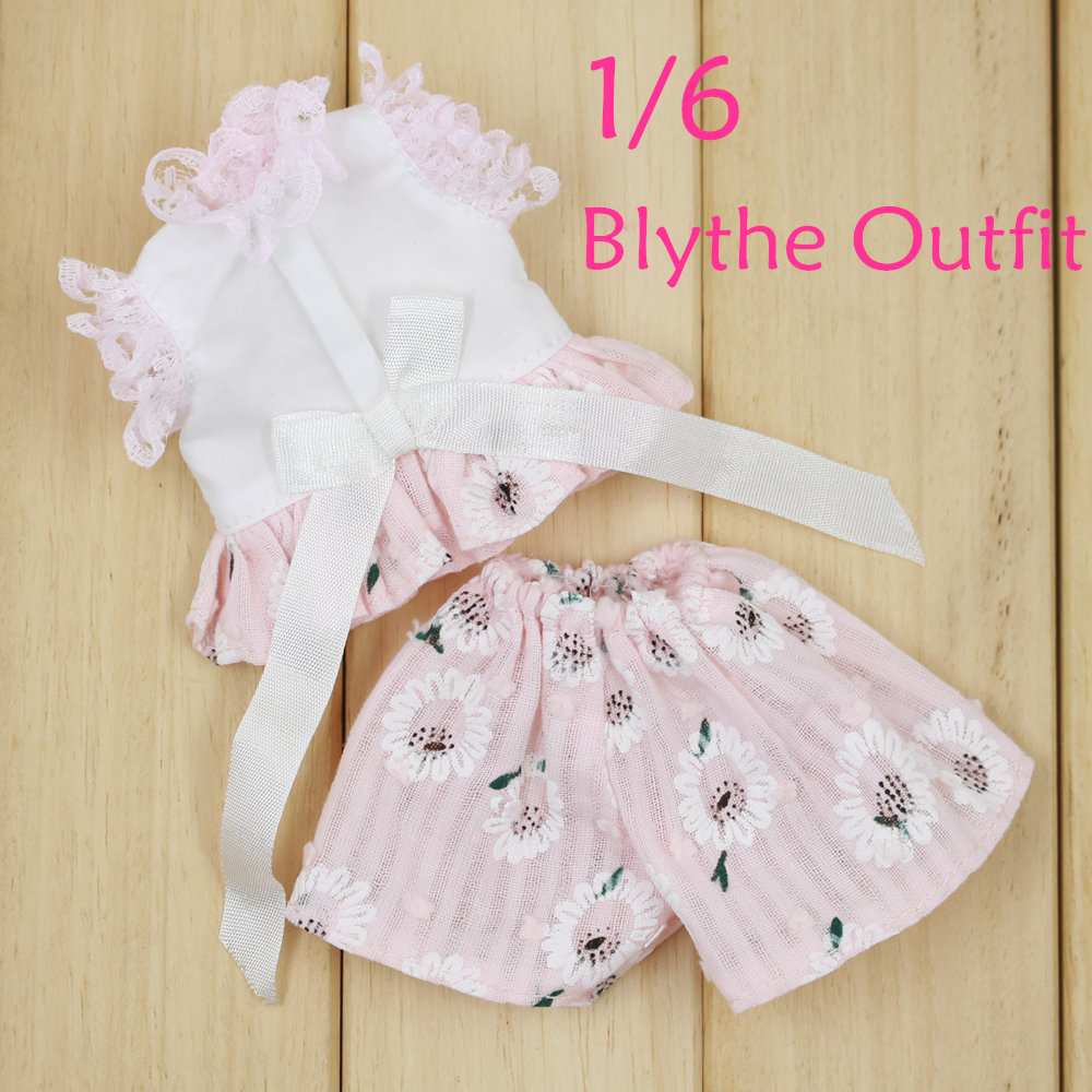 Neo Blythe Doll Pink Lace Shirt Flower Pants