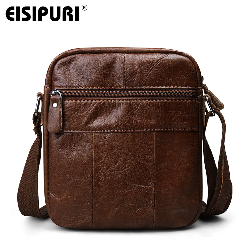 a3745a108e EISIPURI 2018 Genuine Leather Bags Men High Quality Messenger Bags Small  Travel Dark Brown Crossbody Shoulder Bag For Men on Aliexpress.com
