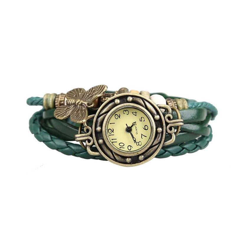 Unique Butterfly jewelry Watch Clock Women Vintage Retro Rivet Braided Bracelet Leather Strap Lady Bracelet Dress Watch LL artificial leather chain butterfly bracelet watch