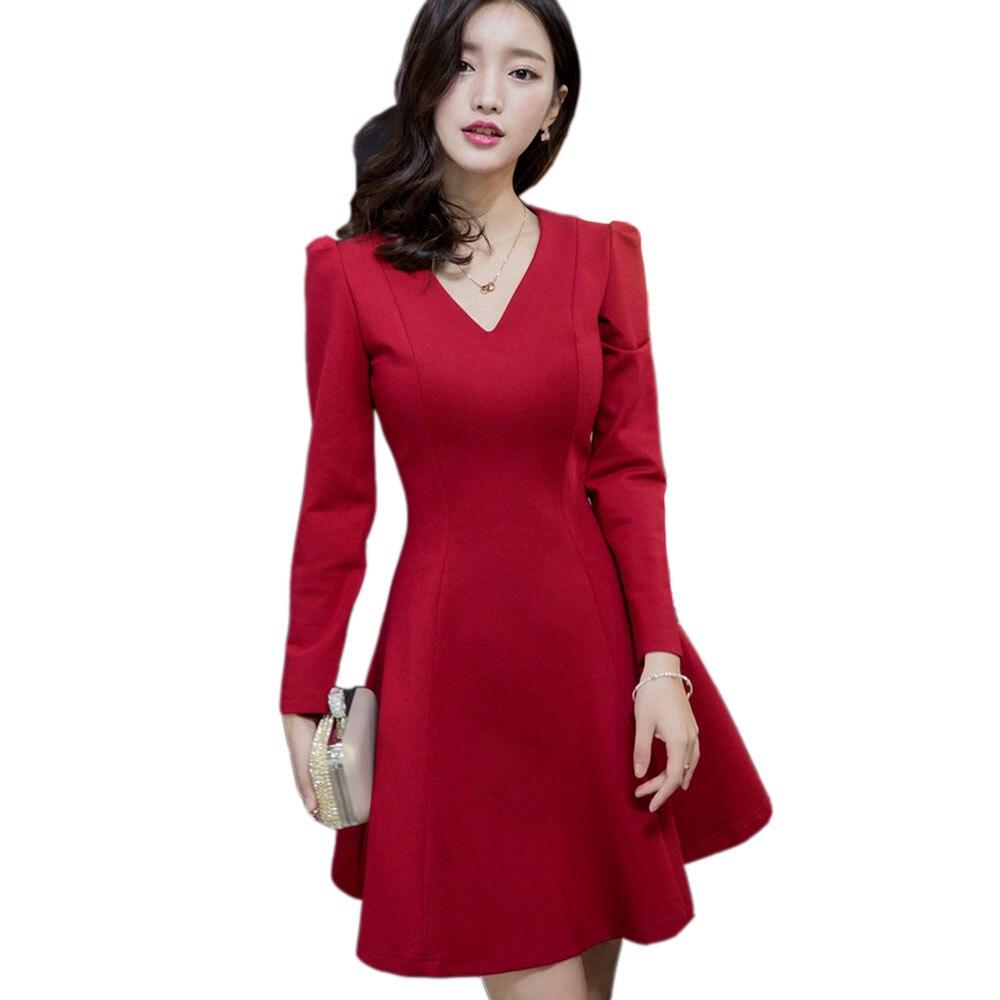 Winter Long Sleeve Red Dress