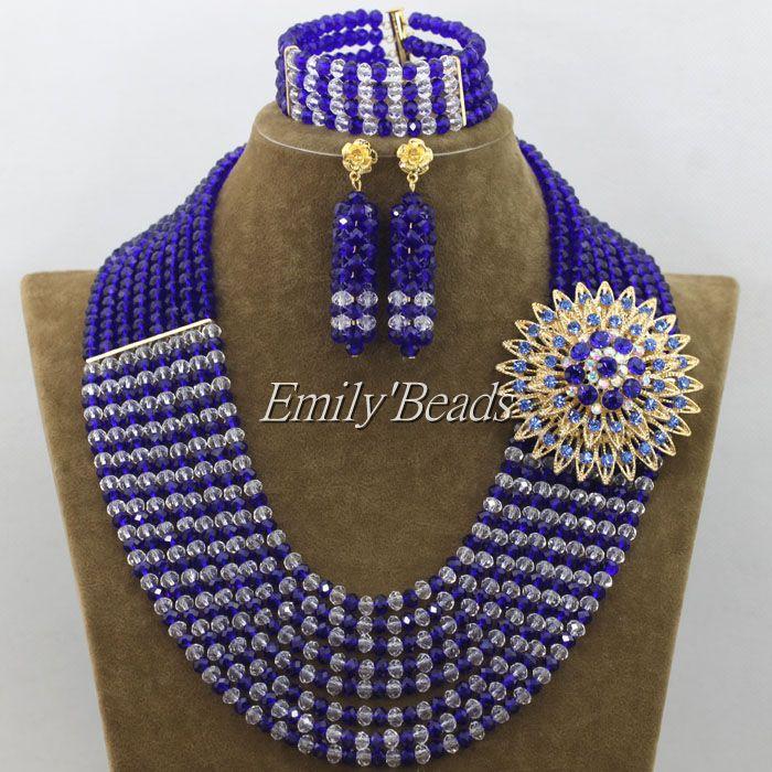 9bc0df54ca92 2015 encanto nigeriano blanco claro Cuentas Collares Juegos de joyería  Africana azul real traje Juegos de joyería envío libre amj634