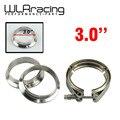 """WLR STORE-3 """"V-braçadeira Banda flange Kit (Aço Inoxidável 304 Grampo + SUS304 Flange) para downpipe escape turbo"""
