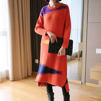 2019 autumn and winter new women's net red pullover sweater  Korean fashion long paragraph lazy wind knit bottoming shirt