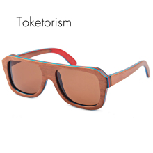 Toketorism Handmade new wooden skateboard sunglasses polarized fashion wood frame sunglasses female male 9003