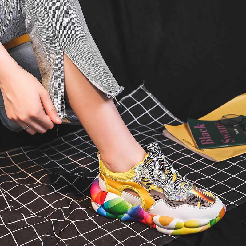Netto czerwony oddychająca mesh twarzy tata buty kobiet 2019 lato nowy casual dzikie hollow sandały biszkopt grube dno trampki wome