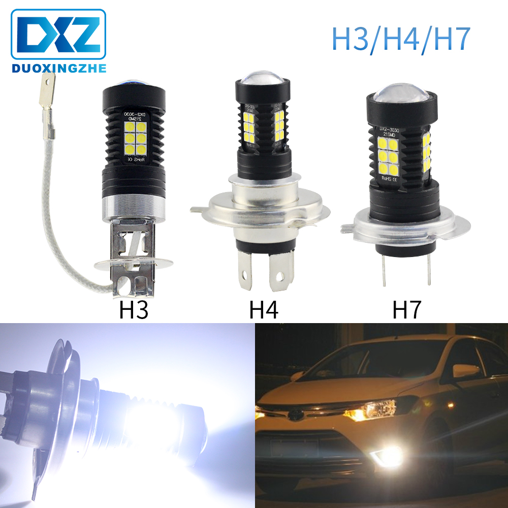 DXZ 1Pcs Led Fog Lights Lamp H3 H4 H7 12 V Bulbs For Auto DRL Daytime Running Lights White 6000K 3030 12 SMD Driving Accessories
