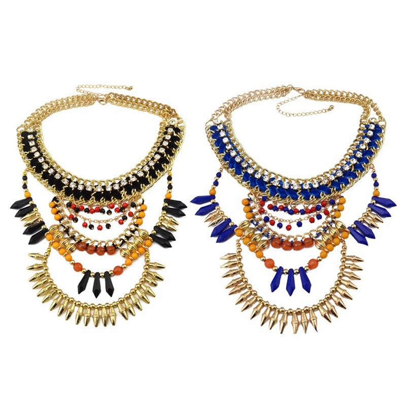 New Fashion Style European gold color handmade braid rhinestone chunky chain blue brown beads rivet tassel charms necklace gift