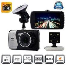 Discount! 4inch  Full HD 1080P Car DVR CCTV Dash Double Camera G-sensor WDR Recorder Futural Digital JULL17