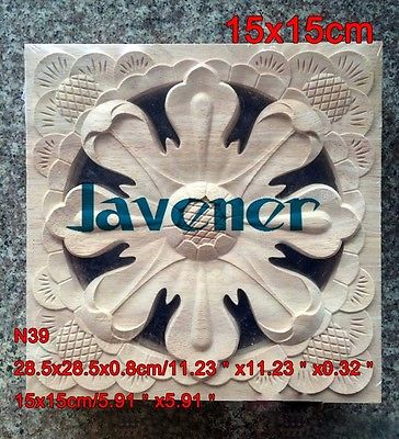 N39 -15x15cm Wood Carved Long Square Applique Flower Frame Door Decal Working Carpenter Decoration