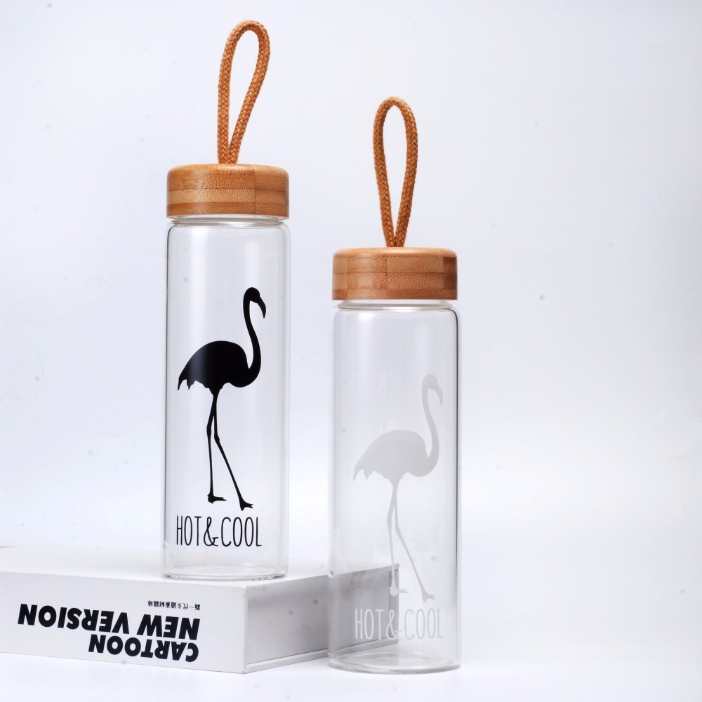 450 Ml Glass Water Bottles With Bamboo Lid Rope Straight Drink Hiking Creative My Bottle Drinkware Clear Brief Portable 2