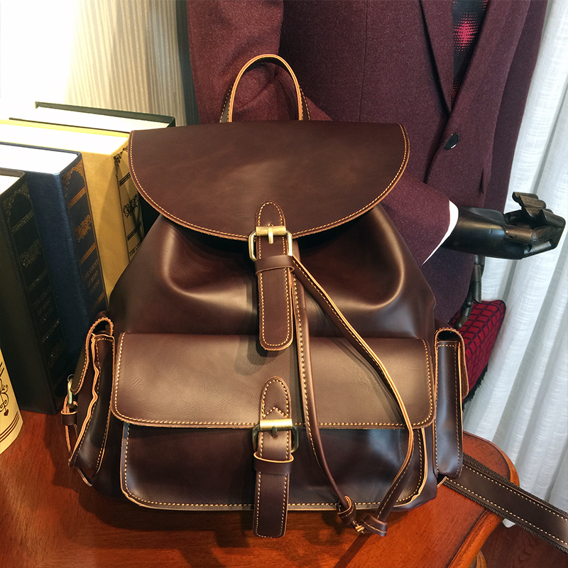 ETONWEAG Brands Cow Leather Backpacks For Teenage Girls Brown Vintage Drawstring Bag Preppy Style Travel Backpack Women BagPack etonweag brands cow leather backpacks for teenage girls vintage brown school bags for teenagers preppy travel small backpack