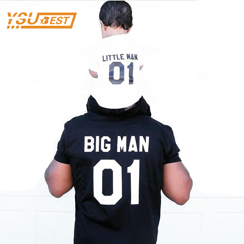 (Big Man & Little Man) Father Son Matching Tops Tees Family Matching Outfits Family Look Creative T-shirt Sets New Family Fitted