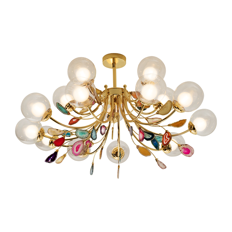 G9 Agate Chandeliers Glass Ball Lampshade Hanging Lamps Lustre Lighting Living Room Pendant Chandelier Lights-in Chandeliers from Lights & Lighting